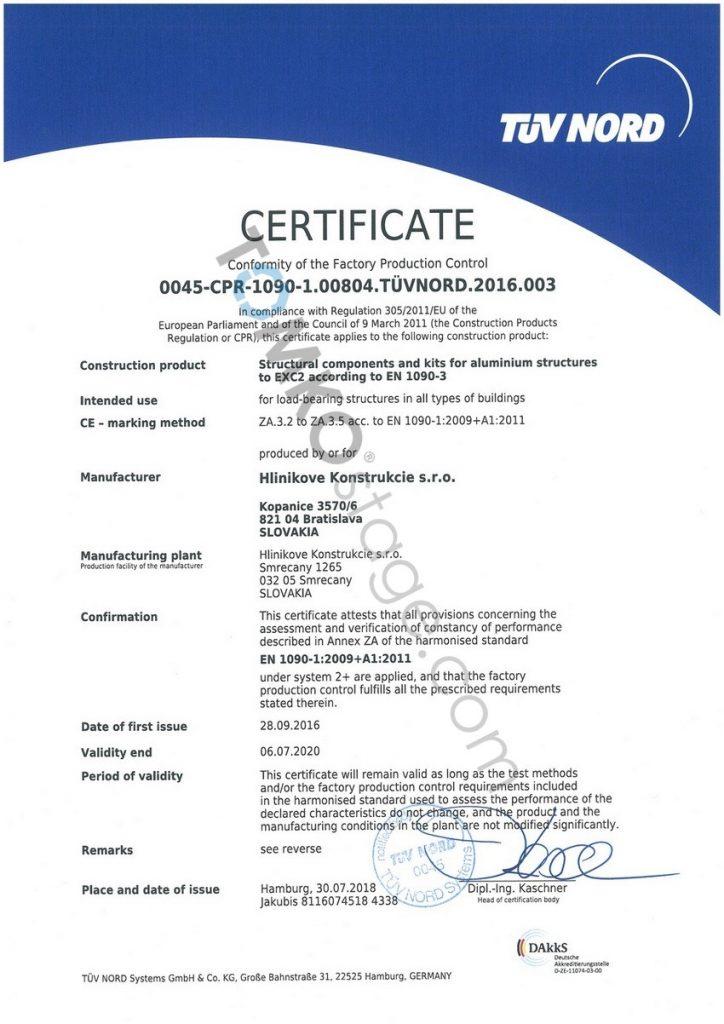 certifikát TUV NORD